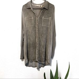 Soft Surroundings Gray Silk Button Down Tunic Top